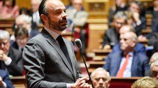 Le Premier ministre, Edouard Philippe, le 14 février 2019 au Sénat. (DANIEL PIER / NURPHOTO / AFP)