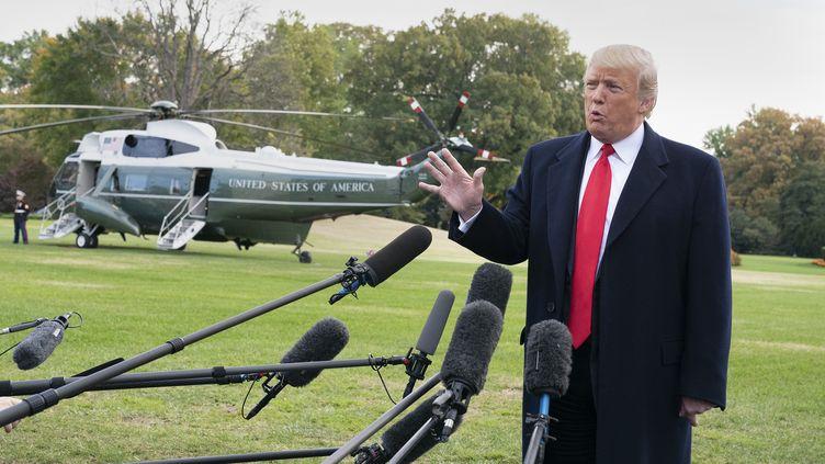Donald Trump répond aux questions des journalistes à la Maison Blanche, à Washington (Etats-Unis), le 31 octobre 2018. (CHRIS KLEPONIS / CONSOLIDATED NEWS PHOTOS / AFP)