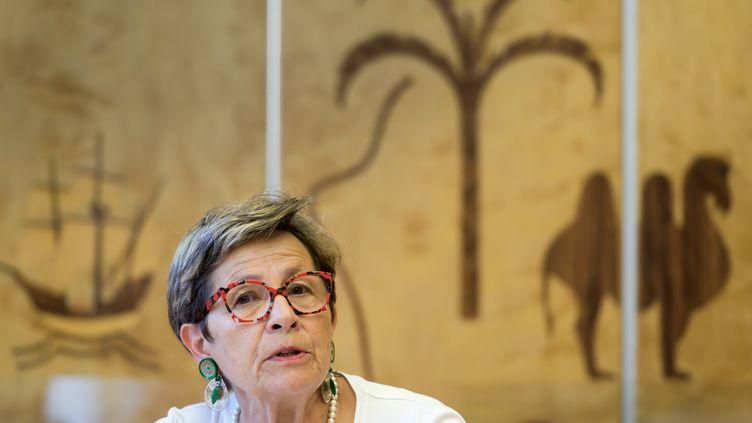 Vivane Lambert lors d'une table ronde organisée en margede la 41e session du Conseil des droits de l'homme, lundi 1er juillet 2019 à Genève (Suisse). (FABRICE COFFRINI / AFP)