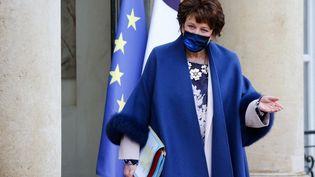 La ministre de la Culture Roselyne Bachelot sortant de l'Elysée le 27 janvier 202, à Paris. (LUDOVIC MARIN / AFP)