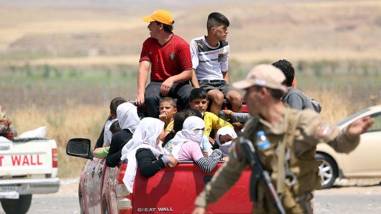Des Yézidis fuient la ville de Sinjar, le 3 août 2014, après des attaques de l'Etat islamique dans le nord de l'Irak. (EMRAH YORULMAZ / ANADOLU AGENCY / AFP)