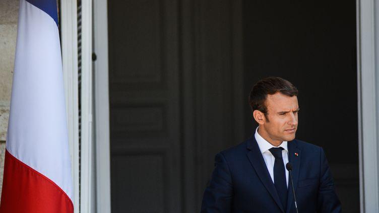 Le président français Emmanuel Macron à Varna, en Bulgarie, le 25 août 2017. (HRISTO RUSEV / NURPHOTO / AFP)