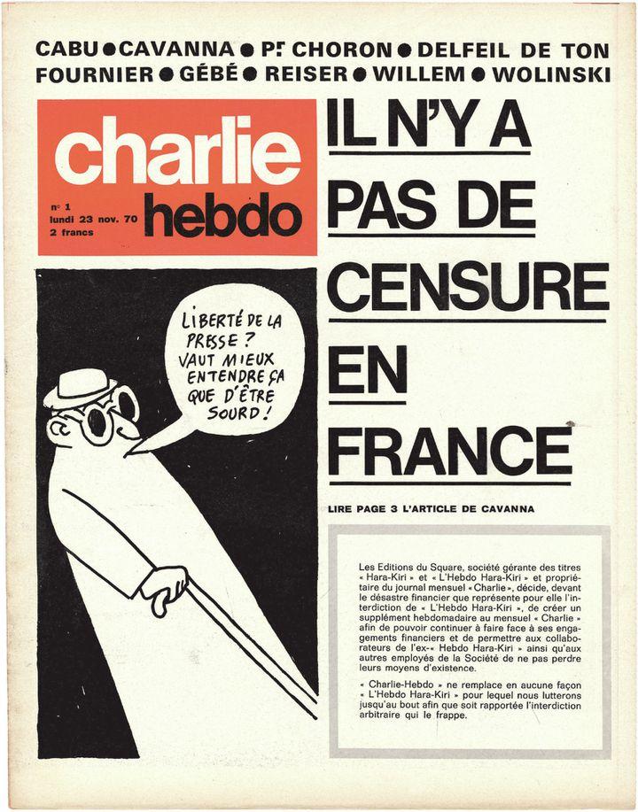 """Le premier numéro de """"Charlie Hebdo"""" paraissait en 1970 en réponse à la censure du gouvernement gaulliste. (CHARLIE HEBDO)"""