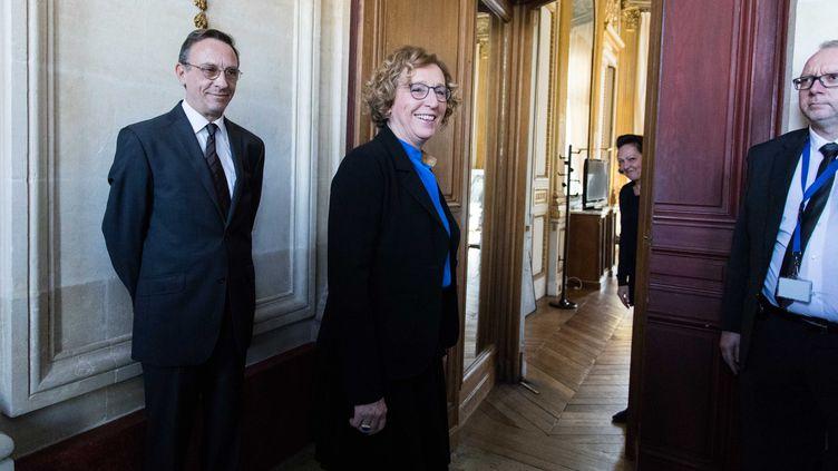 La ministre du Travail, Muriel Pénicaud (C), vient présenter sa réforme de la formation professionnelle, le 5 mars 2018, à Paris. (MAXPPP)