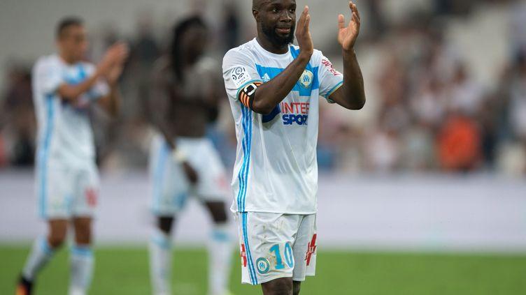 Lassana Diarra sous le maillot marseillais. (BERTRAND LANGLOIS / AFP)