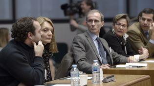 François Lambert, Rachel Lambert et Viviane Lambert (de gauche à droite) assistent à une audience devant la Cour européenne des droits de l'homme, le 7 janvier 2015 à Strasbourg. (FREDERICK FLORIN / AFP)