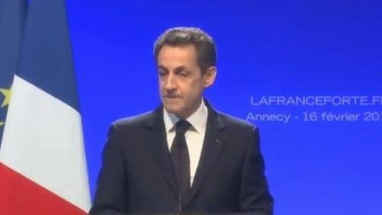 Nicolas Sarkozy en meeting à Annecy (Haute-Savoie), jeudi 16 février 2012. (FTVI)