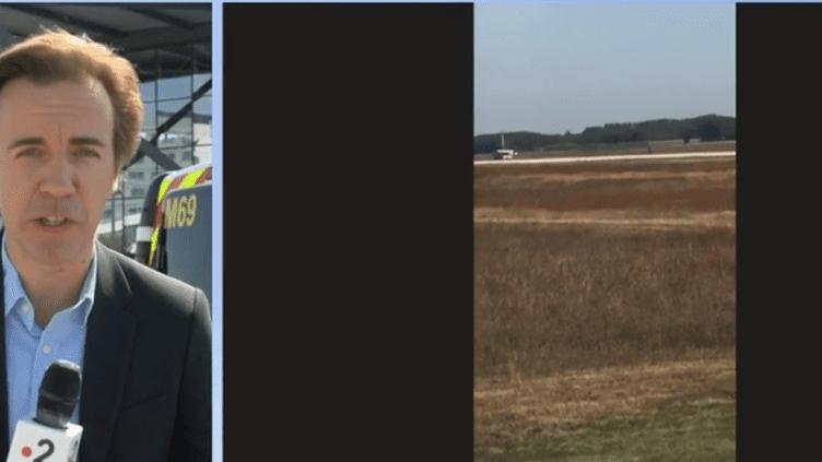 Olivier Martin est en direct de l'aéroport de Lyon où un homme s'est introduit lundi 10 septembre à bord d'un véhicule volé. (FRANCE 2)