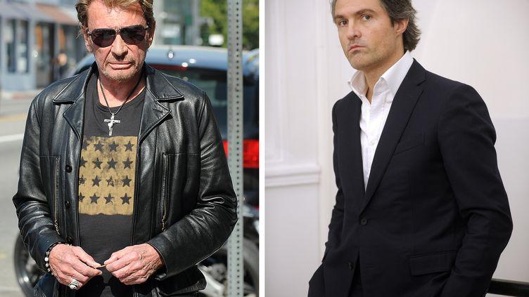 Le chanteur Johnny Hallyday en mai 2010 et son ancien médecin Stéphane Delajoux en janvier 2010. (BOUYS / LABAN-MATTEI / AFP PHOTO)