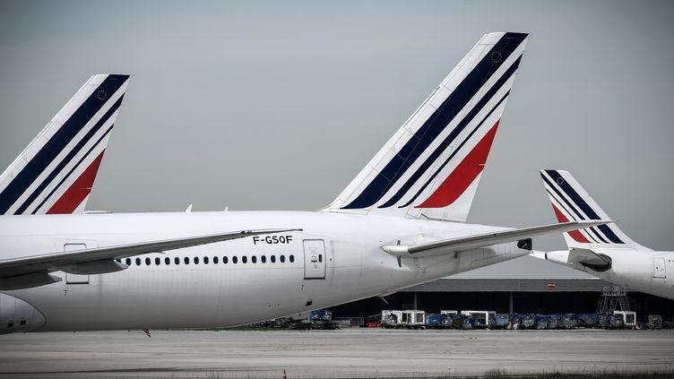 Des avions d'Air France parqués sur l'aéroport de Paris-Charles-de-Gaulle, le 16 avril 2018. (PHILIPPE LOPEZ / AFP)