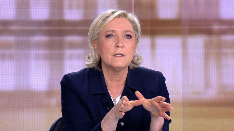 Marine Le Pen lors du débat de l'entre-deux-tours face à Emmanuel Macron, à la plaine Saint-Denis (Seine-Saint-Denis), le 3 mai 2017. (AFP)
