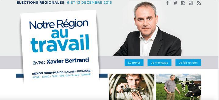 Capture d'écran du site de Xavier Bertrand lors de la campagne des régionales de 2015. (CAPTURE D'ÉCRAN)