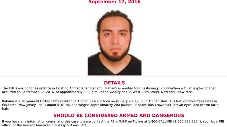 Photographie d'Ahmad Khan Rahami,diffuséepar le FBI le 19 septembre 2016, après l'attentat dan sle quartier de Chelsea à New York. (HO / FBI)