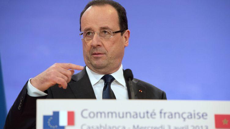 François Hollande s'exprime devant la communauté française à Casablanca le 3 Avril 2013 (BERTRAND LANGLOIS / AFP)