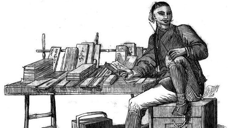 Libraire chinois au 19e siècle. Gravure de 1834. Collection prive  (Bianchetti/leemage )