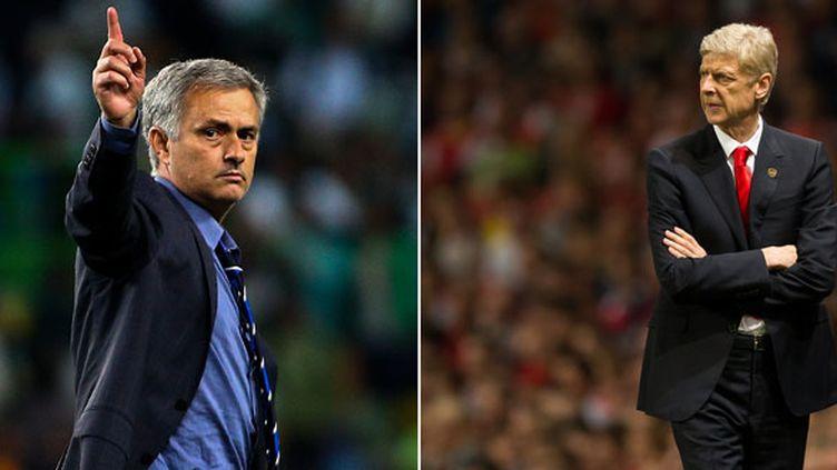 L'entraîneur de Chelsea José Mourinho et celui d'Arsenal Arsène Wenger
