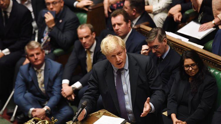 Le Premier ministre britannique Boris Johnson, à Westminster (Royaume-Uni), mardi 22 octobre 2019. (JESSICA TAYLOR / UK PARLIAMENT / AFP)
