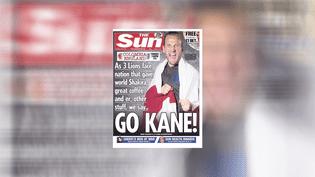 """La couverture du journal anglais """"The Sun"""", daté du 3 juillet 2018, avec l'attaquant Harry Kane en une pour annoncer le match de Coupe du monde entre l'Angleterre et la Colombie. (THE SUN / FRANCEINFO)"""