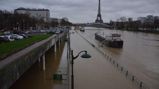 La Seine en crue, à Paris, le 24 janvier 2018. (JEAN-CHRISTOPHE BOURDILLAT / RADIO FRANCE)