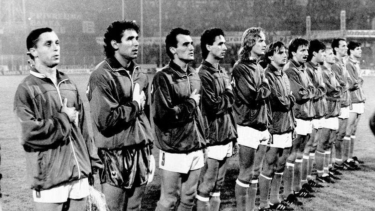 Le premier match de la Croatie après l'éclatement de la Yougoslavie, le 17 octobre 1990 face aux Etats-Unis, à Zagreb. (DR)