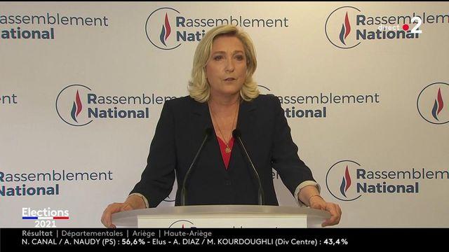 """Elections régionales et départementales : pour Marine Le Pen, """"la présidentielle apparaît plus que jamais comme l'élection qui permet de changer de politique et les politiques"""""""