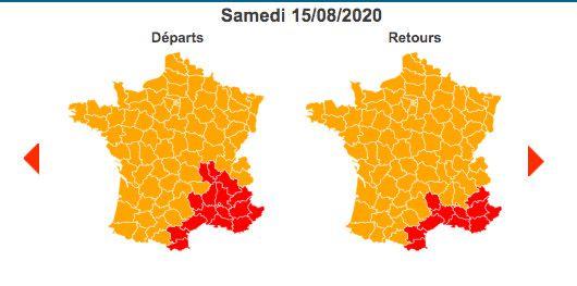 Samedi 15 août 2020 est classé orange au niveau national et rouge dansla région Auvergne-Rhône-Alpes et l'Arc Méditerranéen. (BISON FUTE)