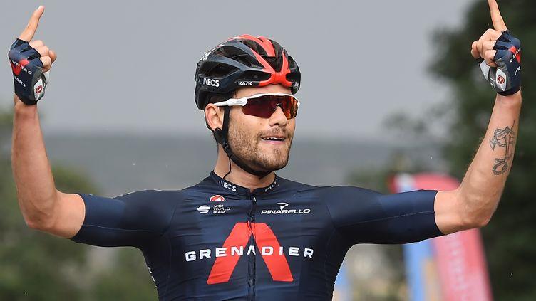 Filippo Ganna (Ineos) attaque 2021 comme il a conclu 2020, avec deux victoires d'étapes sur l'Étoile de Bessèges, les 6 et 7 février 2021. (SYLVAIN THOMAS / AFP)
