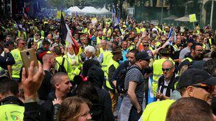 """Une manifestation de """"gilets jaunes"""" à Reims, samedi 18 mai 2019. (FRANCOIS NASCIMBENI / AFP)"""