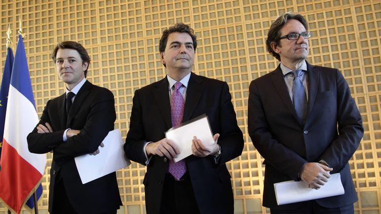François Baroin, Pierre Lellouche, Frédéric Lefebvre, ici à Bercy en janvier 2012, sont tous les trois enregistrés comme avocat par les services de l'Assemblée nationale. (  MAXPPP)
