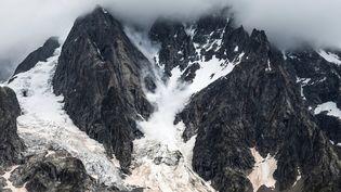 Le glacier de Planpincieux, sur le versant italien du mont Blanc, le 3 août 2021. (MARCO BERTORELLO / AFP)