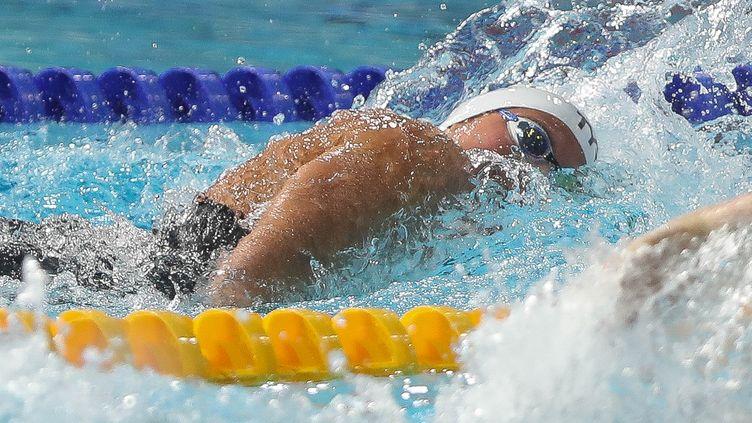La nageuse française Charlotte Bonnet, le 7 août 2008 aux championnats d'Europe de natation, à Glasgow. (LAURENT LAIRYS / AFP)