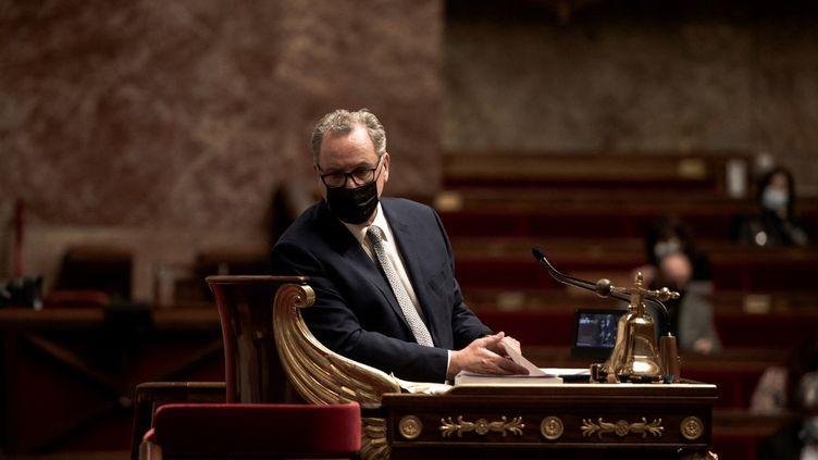 Le président de l'Assemblée nationale, Richard Ferrand, au Palais Bourbon, à Paris, le 23 mars 21. (ARTHUR NICHOLAS ORCHARD / HANS LUCAS / AFP)