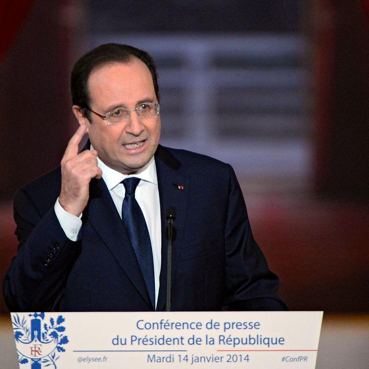 François Hollande, le 14 janvier 2014, lors de sa conférence de presse à l'Elysée, à Paris. (ALAIN JOCARD / AFP)