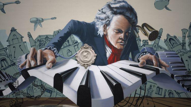 Un graffiti représentant Beethoven sur un mur à Bonn, ville d'origine du compositeur. (INA FASSBENDER / AFP)
