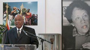 Le président Jacob Zuma rend Hommage à Dulcie September représentante de l'ANC assassinée en 1988 à Paris (BERTRAND LANGLOIS / POOL / AFP)
