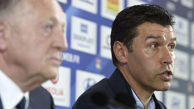 Hubert Fournier, l'entraîneur de l'OL, aux côtés de son président Jean-Michel Aulas