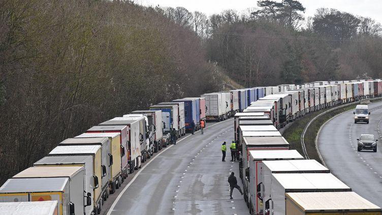 Les camions de fret restent en file sur l'autoroute M20, en direction du sud du Royaume-Uni, le 24 décembre 2020. (JUSTIN TALLIS / AFP)