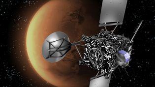 Une illustration de la sonde Rosetta, lancée le 2 mars 2004, devant la planète Mars. (C. CARREAU / ESA / AFP)