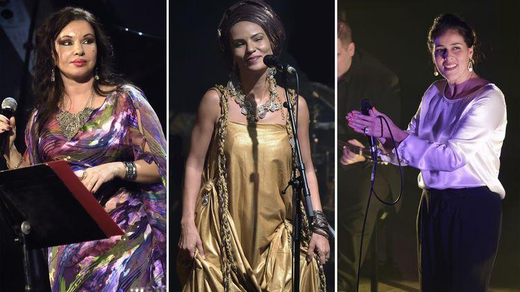 De gauche à droite, trois chanteuses sur scène à Paris : Natacha Atlasau Trianon (25 février 2016), Oum à la Cigale (22 septembre 2016), Souad Massi au Café de la Danse (15 octobre 2019) (Edmond Sadaka / Sipa)