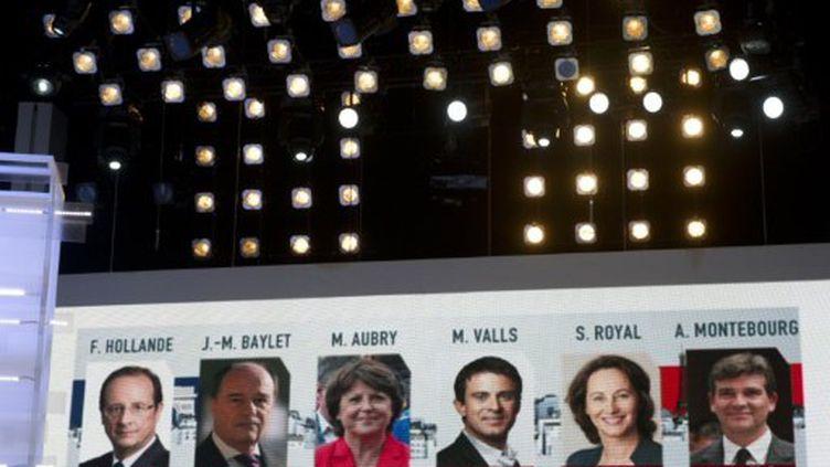 Le décompte du temps de parole lors du débat PS du 28 septembre (AFP)