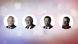 Quatre candidats à l'élection présidentielle ont expliqué à franceinfo comment ils préparaient le débat du 4 avril 2017. (ANSELME CALABRESE / FRANCEINFO)