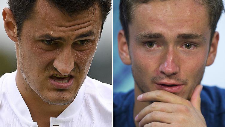Bernard Tomic et Daniil Medvedev (JUSTIN TALLIS,JOE TOTH / AFP)
