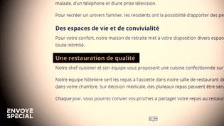 Ehpad : manger pour 4 euros par jour quand on paie des frais d'hébergement de plus de 3 000 euros par mois (ENVOYÉ SPÉCIAL  / FRANCE 2)