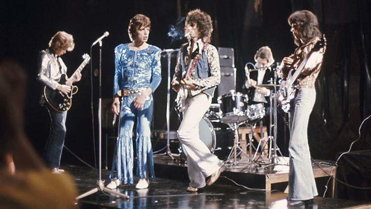 """Les Rolling Stones enregistrent un clip pour """"Silver Train"""", à Londres en juin 1973.  (Dominique Lamblin)"""