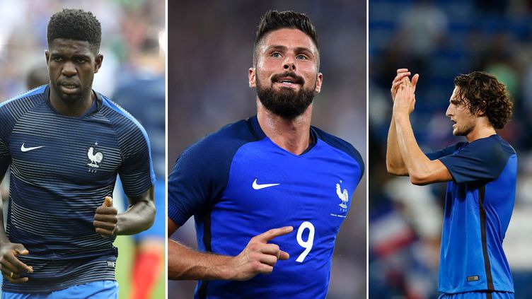 Les joueurs tricolores, Samuel Umtiti, Olivier Giroud et Adrien Rabiot