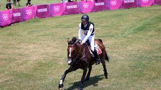 Le cheval Jet Set du cavalier suisse Robin Godel s'est blessé gravement dans l'épreuve de cross du concours complet des Jeux olympiques de Tokyo, le 1er août 2021. (BEHROUZ MEHRI / AFP)