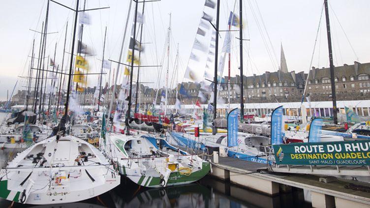 Les bateaux de la Route du Rhum dans le port de Saint-Malo (JEAN-SEBASTIEN EVRARD / AFP)