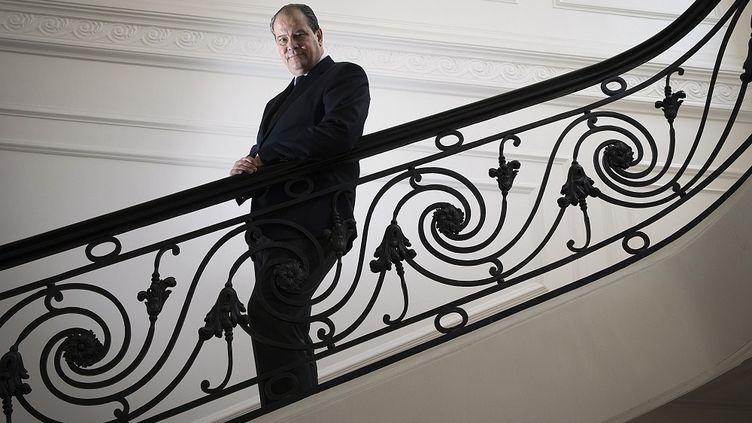 Jean-Christophe Cambadélis, premier secrétaire du PS, le 16 mai 2014,au siège du parti, rue de Solférino, à Paris. (JOEL SAGET / AFP)