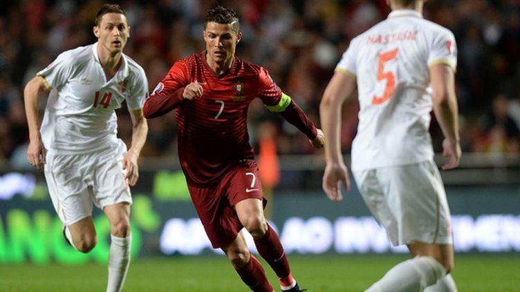 Cristiano Ronaldo (Portugal) face à la Serbie (PATRICIA DE MELO MOREIRA / AFP)