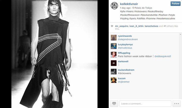Capture écran du compte Instagram de Kollektivnoir, avec une photo du défilé automne-hiver 2015-2016 de Rick Owens, le 22 janvier 2015. (KOLLEKTIVNOIR / INSTAGRAM)